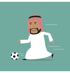 Arabian businessman running with soccer ball vector