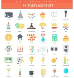 Party color flat icon set elegant style vector