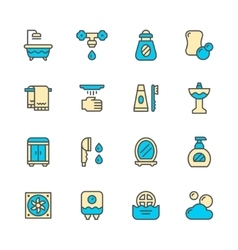 Set color line icons of bathroom vector