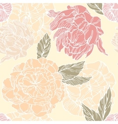 Seamless pattern with blossom and flower bud of vector