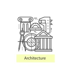 Modern thin line icons architecture vector