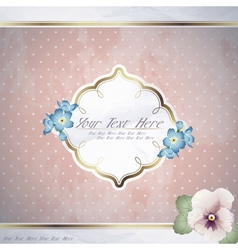 Romantic pink vintage banner with flowers vector image