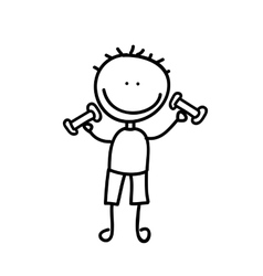 Boy with weight drawing isolated icon design vector