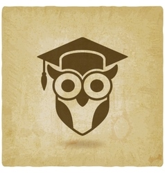 Owl in graduation cap wisdom symbol old vector