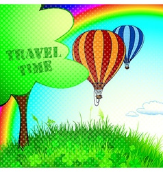 a new journey in a balloon vector image vector image