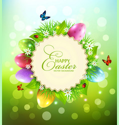 background for easter with a round card for text vector image