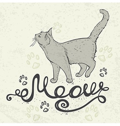 Background with cat and lettering vector