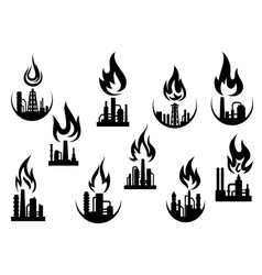 Black icons of industrial plants and factories vector image