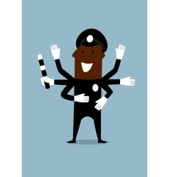 Black policeman with many hands vector
