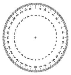 Blank protractor actual size graduation vector