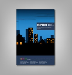 Brochure book with night lighted city template vector
