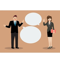 Businessman and business woman discussing vector image