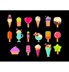 Collection of 17 ice cream vector image vector image