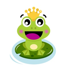 Cute surprised Frog Prince isolated on white vector image