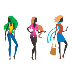 Fashion look girl silhouette beautiful girl woman vector