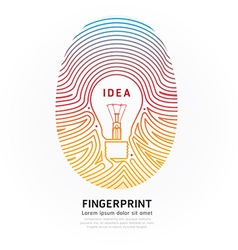 Fingerprint lightbulb color vector image