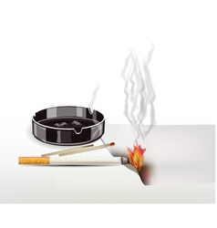 fire cigarettes are not extinguished vector image vector image