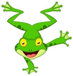 Funny frog cartoon standing on its hand vector