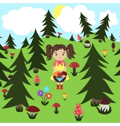 Girl gathers mushrooms in the wood vector