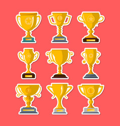 golden winner cups isolated badge set vector image vector image
