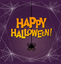 Happy halloween typography and spider web border vector