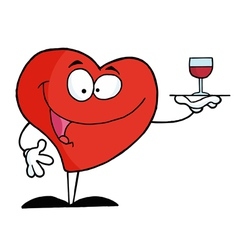 Heart Serving Wine vector image vector image