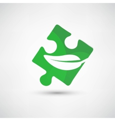 Icon of green puzzle piece vector