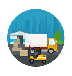Icon warehouse and transportation services vector