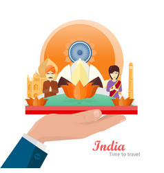 India travelling banner indian landmarks on hand vector