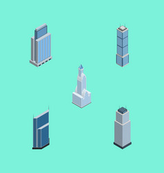 Isometric construction set of apartment cityscape vector