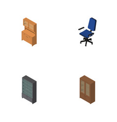 Isometric furnishing set of office cupboard vector