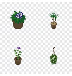 Isometric plant set of flower houseplant vector