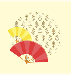 japanese traditional fans and pattern in circle vector image