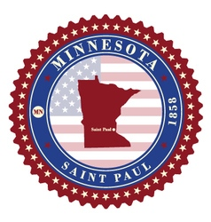 Label sticker cards of state minnesota usa vector