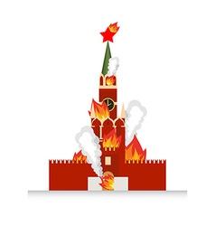 Moscow kremlin afire national landmark russia lit vector