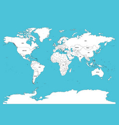 political map of world white lands and blue water vector image