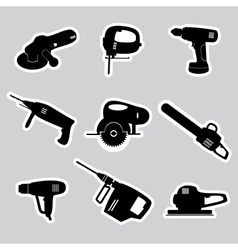 Power tools stickers set eps10 vector