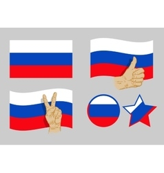 Russia flag icons set vector image
