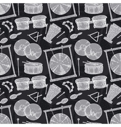 Seamless Pattern Percussion Musical Instruments vector image vector image