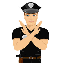 Serious young policeman making x sign shape vector