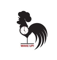 Silhouette of a rooster inside a clock vector