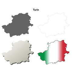 Turin blank detailed outline map set vector