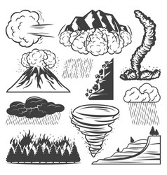 Vintage natural disasters collection vector
