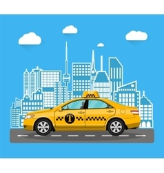 abstract urban cityscape with taxi cab vector image