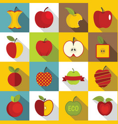 apple icons set design logo flat style vector image