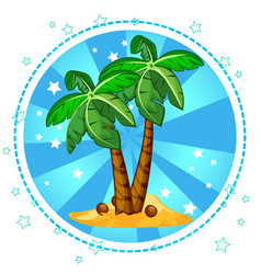 Island and palm trees with coconuts vector
