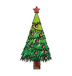 Scribble christmas tree cartoon vector