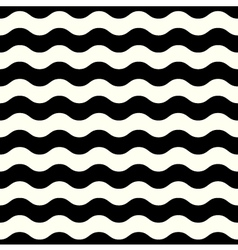 Retro seamless wave pattern in black and white vector