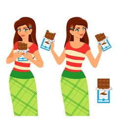 Woman eat chocolate vector