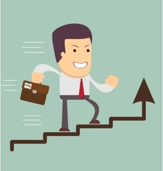 Businessman run in a growth vector